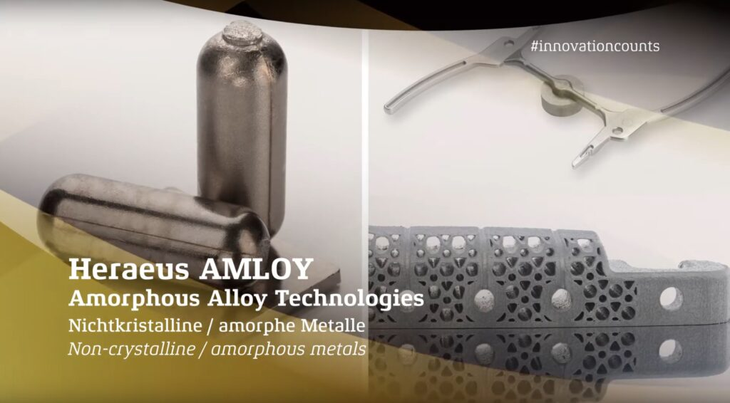 German Innovation awaed Heraeus Amloy: 3D-Druck mit amorphen Metallen